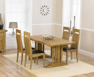 Mark Harris Cavanaugh Oak 165cm Extending Dining Table with 4 Monte Carlo Black Chairs
