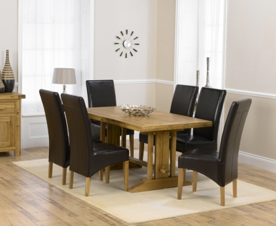 Mark Harris Cavanaugh Oak 165cm Extending Dining Set with 6 Roma Brown Dining Chairs