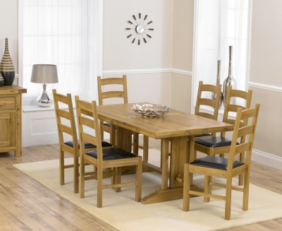 Mark Harris Cavanaugh Oak 165cm Extending Dining Set with 6 Valencia Brown Dining Chairs