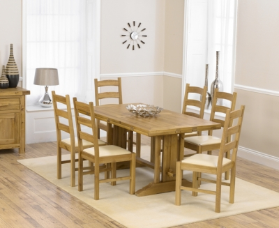 Mark Harris Cavanaugh Oak 165cm Extending Dining Set with 6 Valencia Cream Dining Chairs