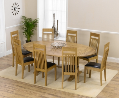 Mark Harris Cavanaugh Oak 165cm Extending Dining Set with 8 Monte Carlo Brown Dining Chairs