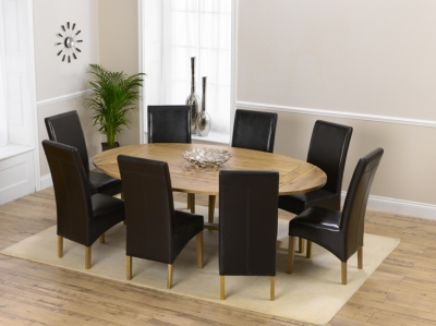Mark Harris Cavanaugh Oak 165cm Extending Dining Set with 8 Roma Brown Dining Chairs