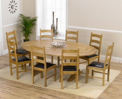 Mark Harris Cavanaugh Oak 165cm Extending Dining Set with 8 Valencia Brown Dining Chairs