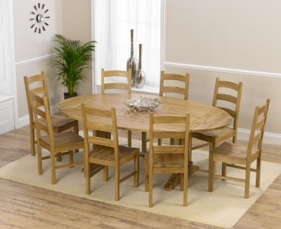 Mark Harris Cavanaugh Oak 165cm Extending Dining Set with 8 Valencia Timber Dining Chairs
