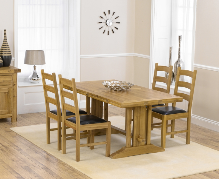 Mark Harris Cavanaugh Oak 165cm Extending Dining Table with 4 Valencia Black Chairs