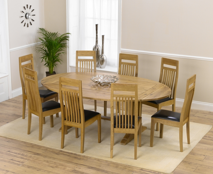 Mark Harris Cavanaugh Oak 165cm Extending Dining Table with 8 Monte Carlo Black Chairs