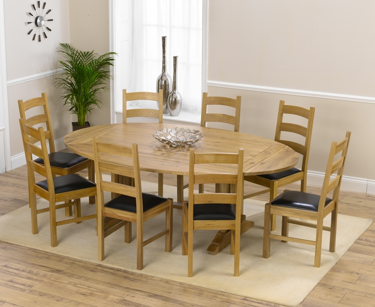Mark Harris Cavanaugh Oak 165cm Extending Dining Set with 8 Valencia Black Dining Chairs