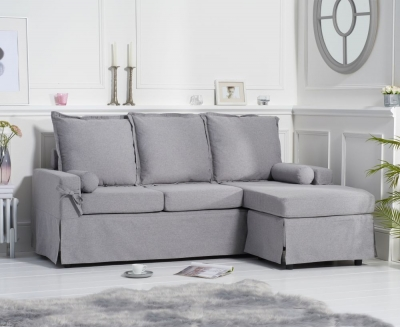 Mark Harris Celia Grey Linen Fabric 3 Seater Reversible Chaise Sofa