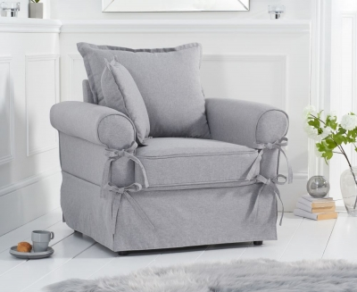 Mark Harris Celia Grey Linen Fabric Armchair