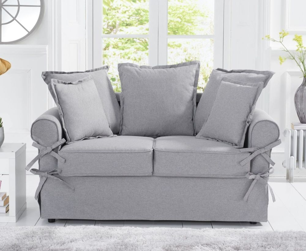 Mark Harris Celia Grey Linen Fabric 2 Seater Sofa