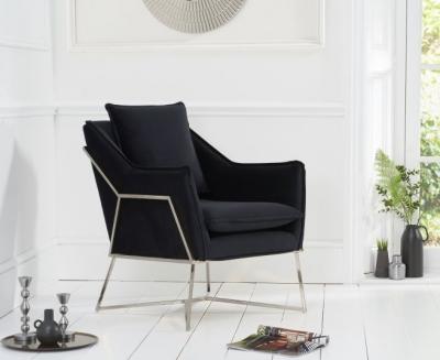Mark Harris Larna Black Velvet and Chrome Accent Chair