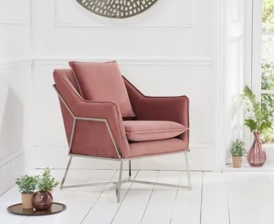 Mark Harris Larna Blush Velvet and Chrome Accent Chair