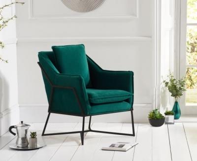 Mark Harris Larna Green Velvet and Black Accent Chair