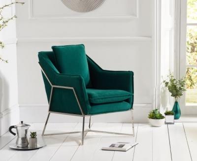Mark Harris Larna Green Velvet and Chrome Accent Chair