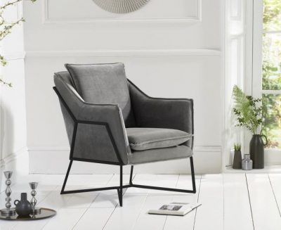 Mark Harris Larna Grey Velvet and Black Accent Chair