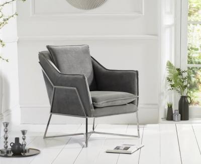 Mark Harris Larna Grey Velvet and Chrome Accent Chair
