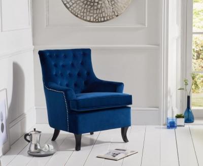 Mark Harris Barney Blue Velvet Accent Chair