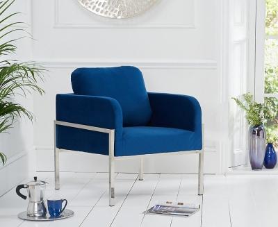 Mark Harris Breva Blue Velvet Accent Chair