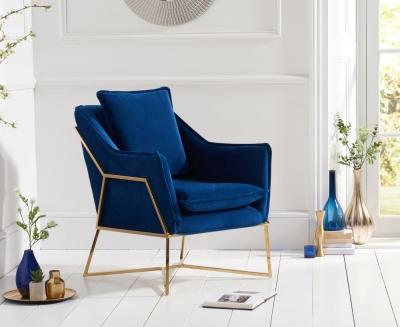 Mark Harris Larna Blue Velvet Accent Chair