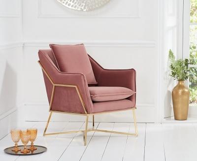 Mark Harris Larna Blush Velvet Accent Chair