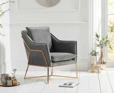 Mark Harris Larna Grey Velvet Accent Chair