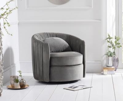 Mark Harris Sarana Grey Velvet Swivel Chair