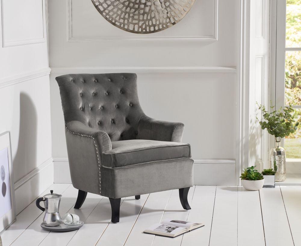 Mark Harris Barney Grey Velvet Accent Chair