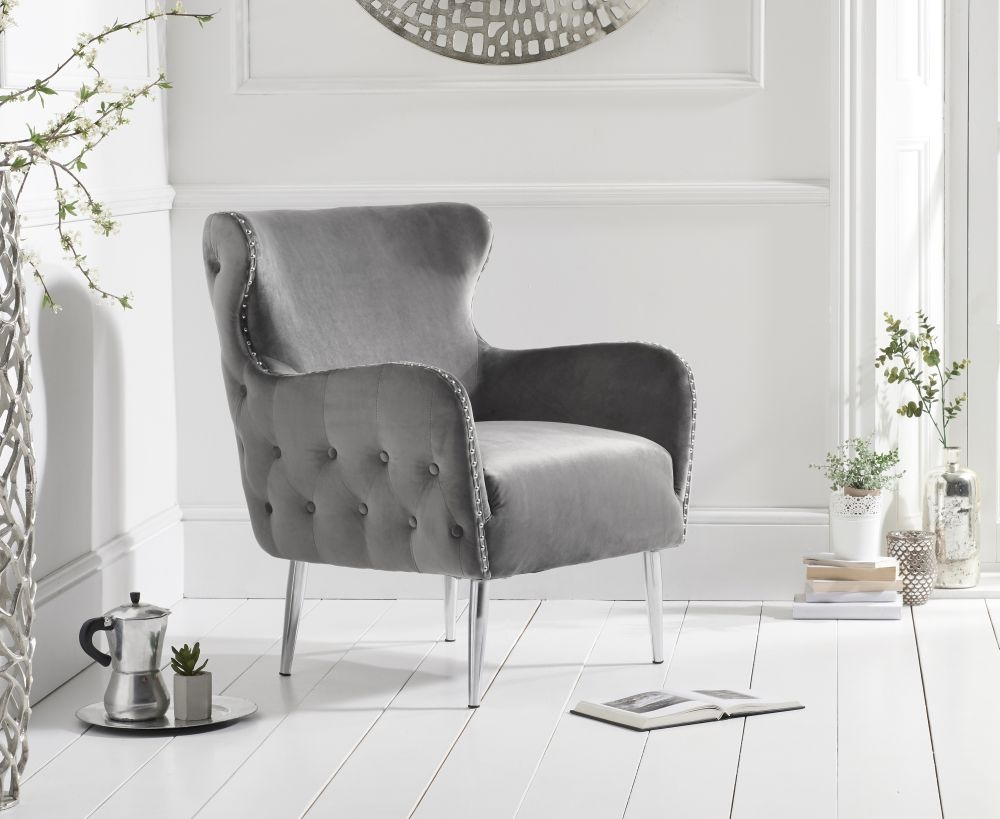 Mark Harris Bina Grey Velvet Accent Chair