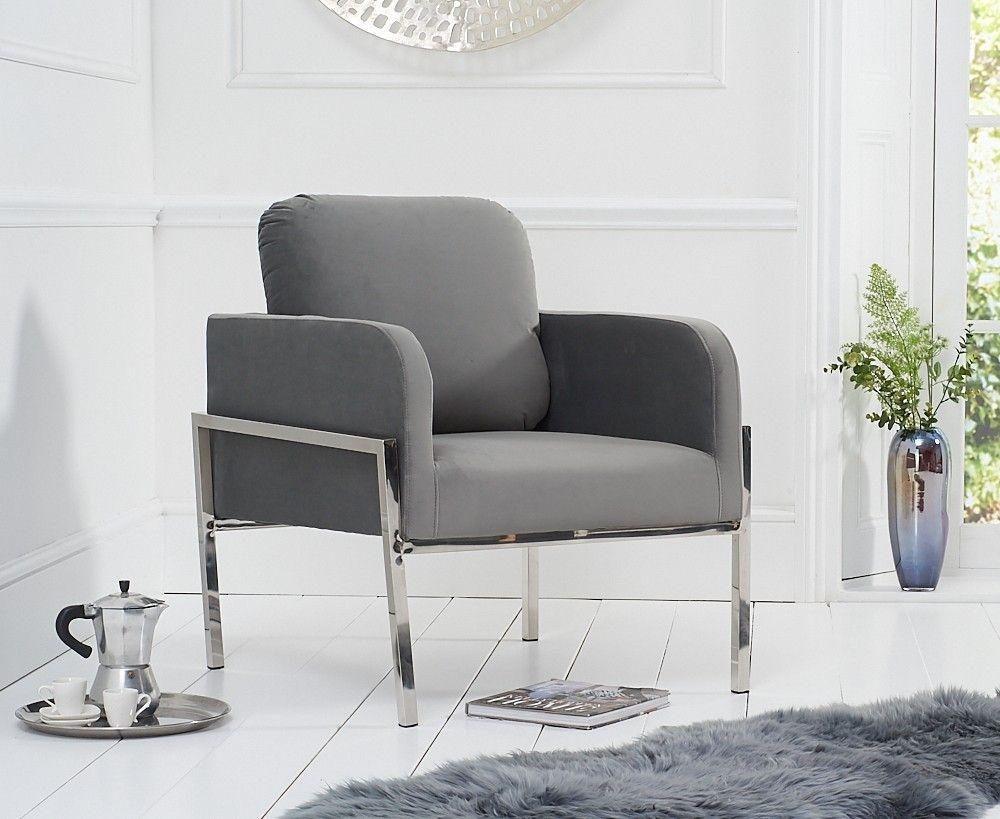 Mark Harris Breva Grey Velvet Accent Chair