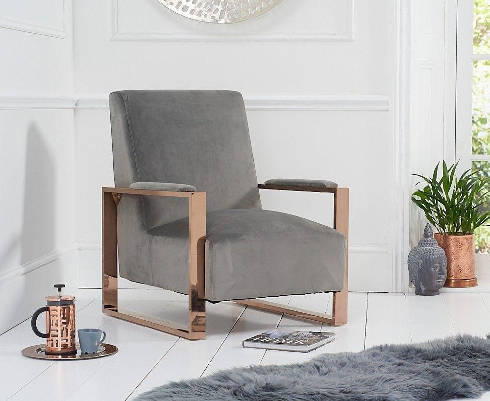 Mark Harris Erica Grey Velvet Accent Chair