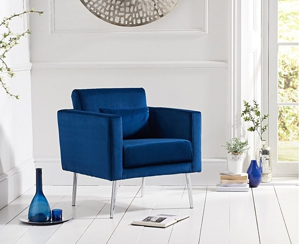 Mark Harris Jennifer Blue Velvet Accent Chair