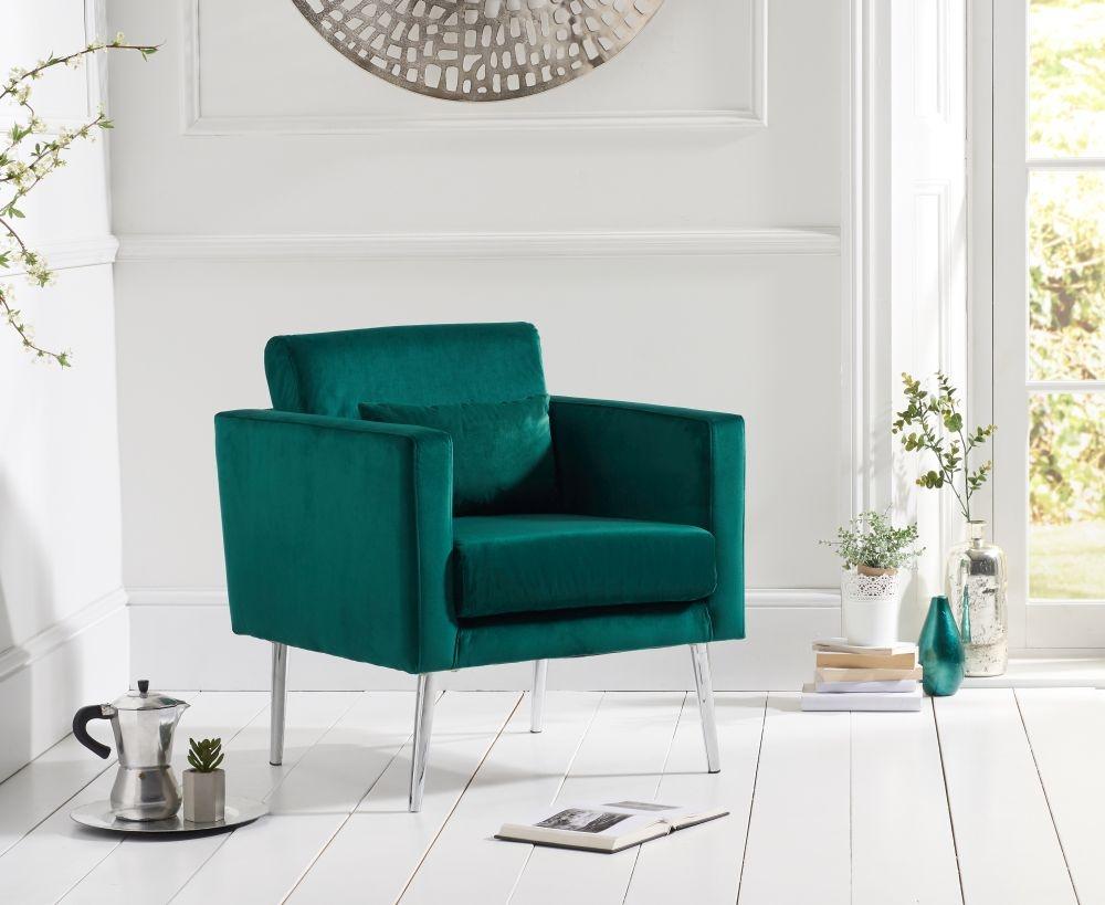 Mark Harris Jennifer Green Velvet Accent Chair