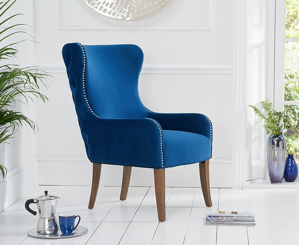 Mark Harris Lance Blue Velvet Accent Chair