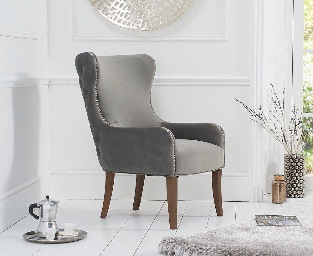 Mark Harris Lance Grey Velvet Accent Chair