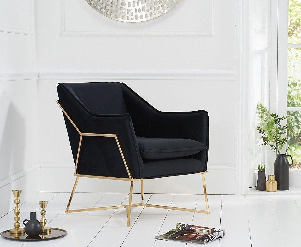Mark Harris Larna Black Velvet Accent Chair