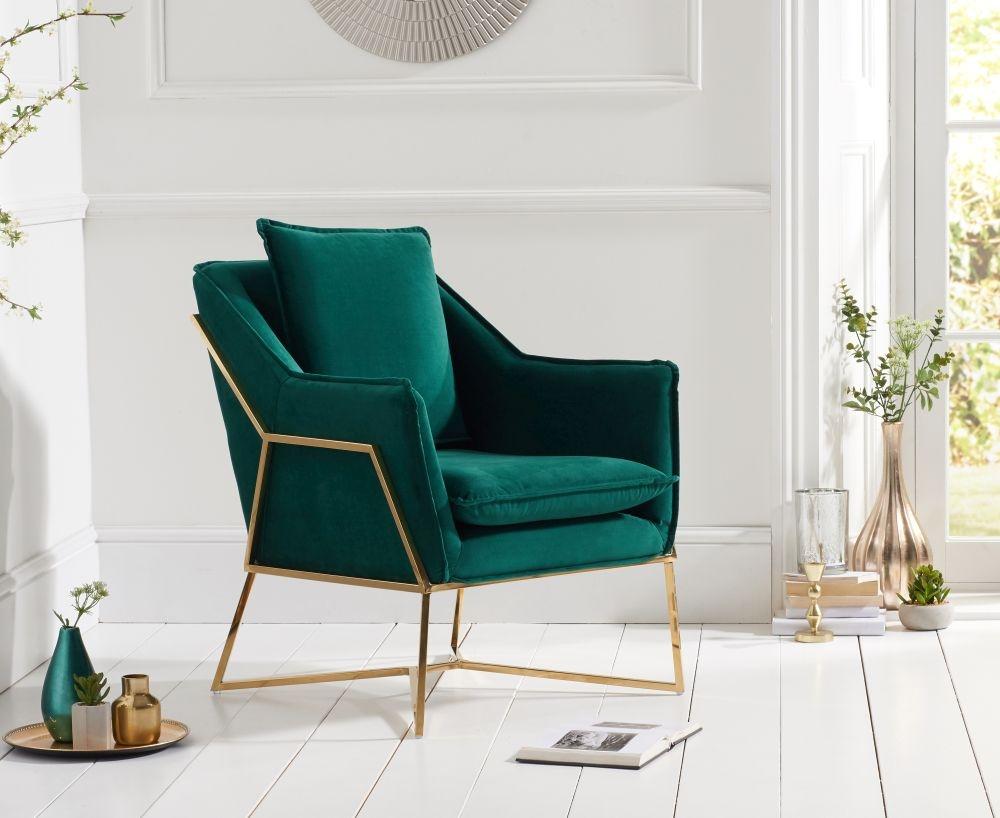 Mark Harris Larna Green Velvet Accent Chair