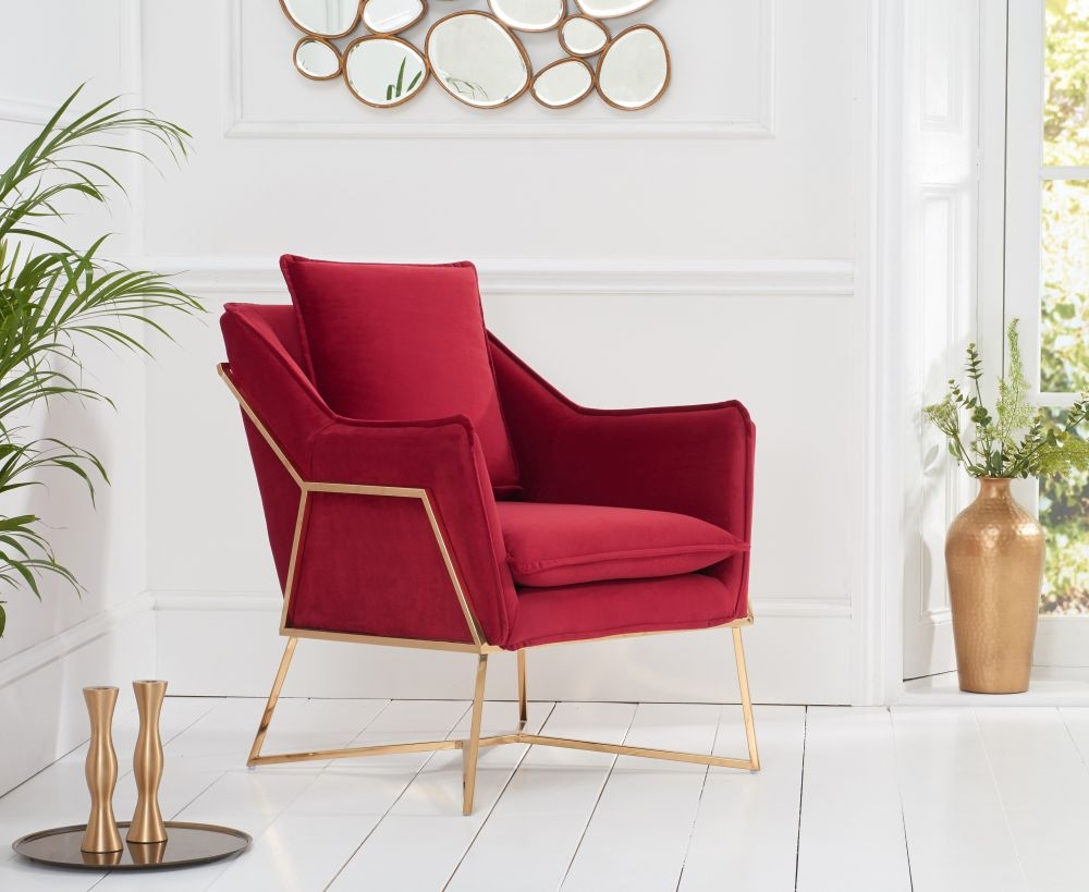 Mark Harris Larna Russet Velvet Accent Chair