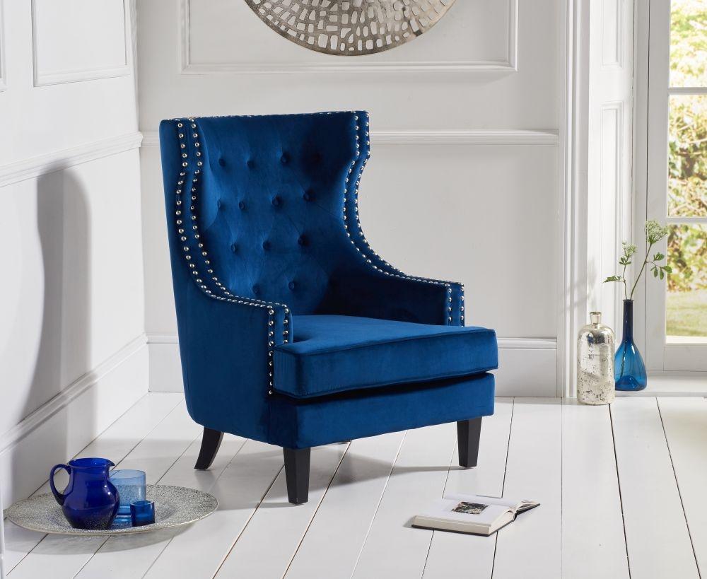 Mark Harris Portia Blue Velvet Accent Chair