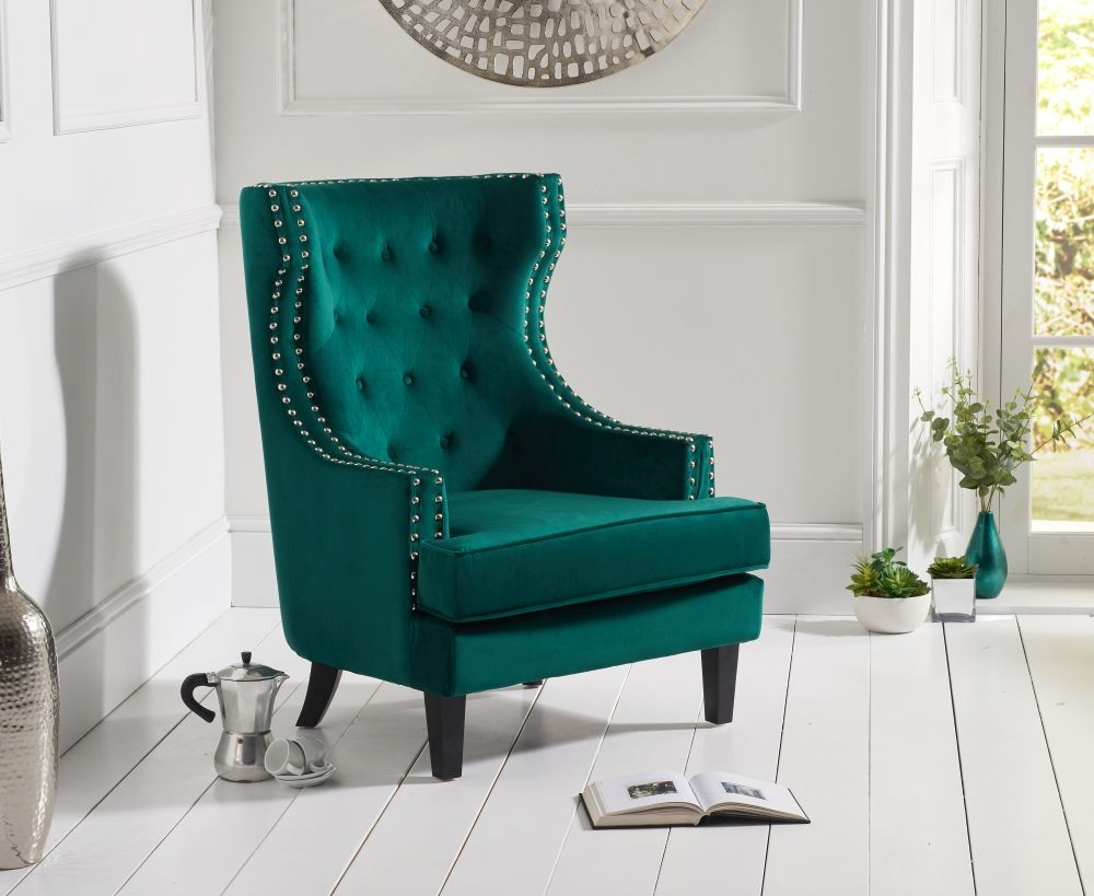 Mark Harris Portia Green Velvet Accent Chair