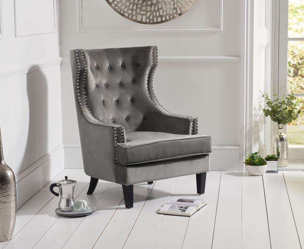 Mark Harris Portia Grey Velvet Accent Chair