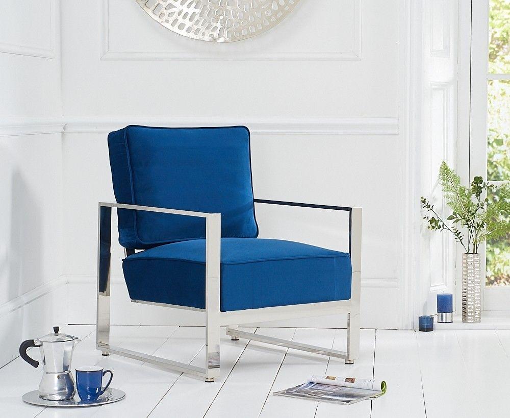 Mark Harris Saffron Blue Velvet Accent Chair