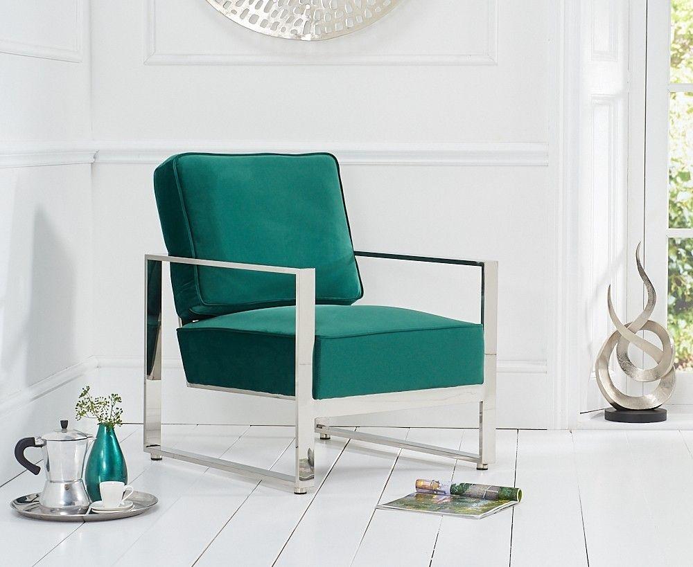 Mark Harris Saffron Green Velvet Accent Chair