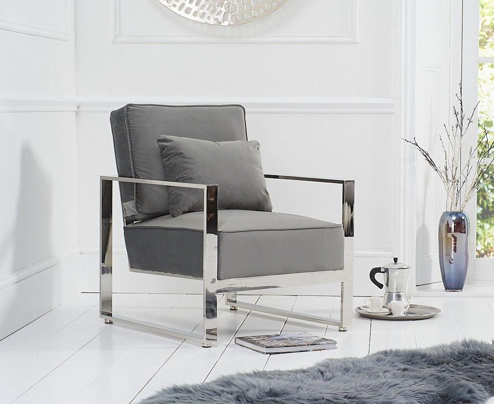 Mark Harris Saffron Grey Velvet Accent Chair