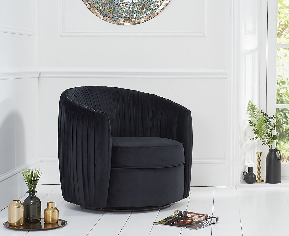 Mark Harris Sarana Black Velvet Swivel Chair