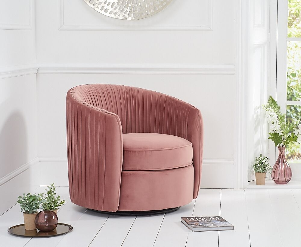 Mark Harris Sarana Blush Velvet Swivel Chair
