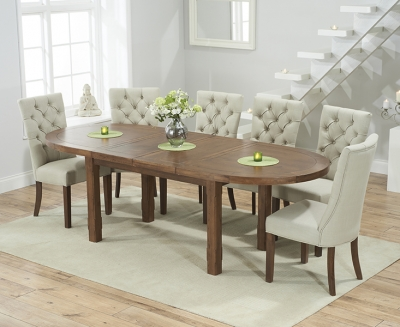 Mark Harris Cheyenne Solid Dark Oak Dining Set - Oval Extending with 4 Albury Beige Chairs