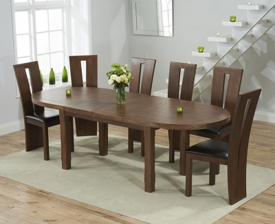 Mark Harris Cheyenne Solid Dark Oak Oval Extending Dining Table with 6 Arizon Brown Chairs