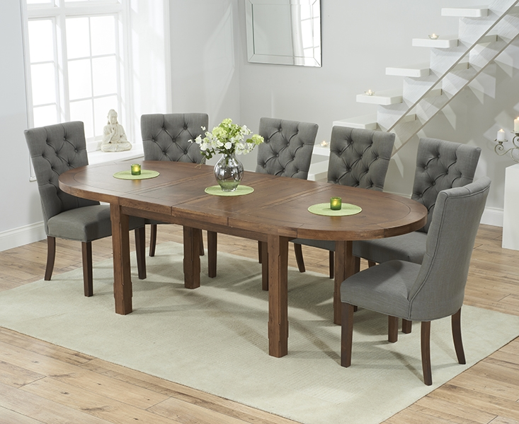 Mark Harris Cheyenne Solid Dark Oak Oval Extending Dining Set with 6 Albury Grey Dining Chairs