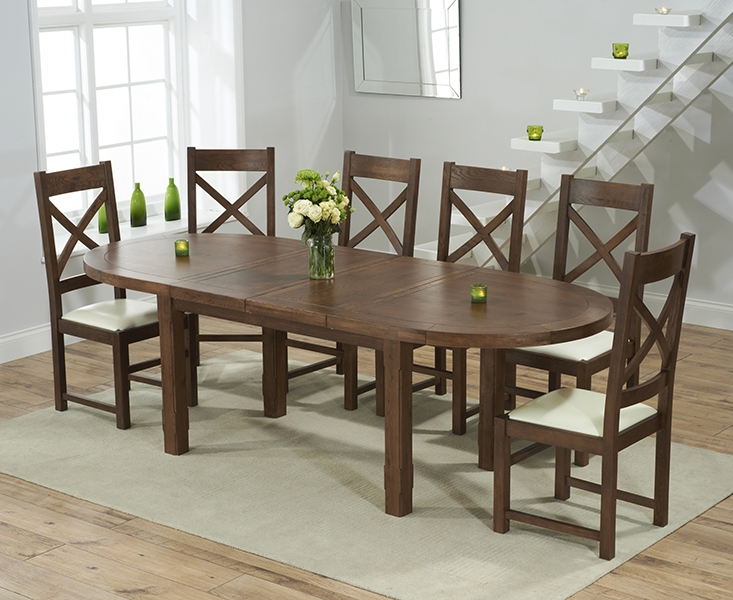 dark oak oval extending dining set with 6 centerbury cream dining