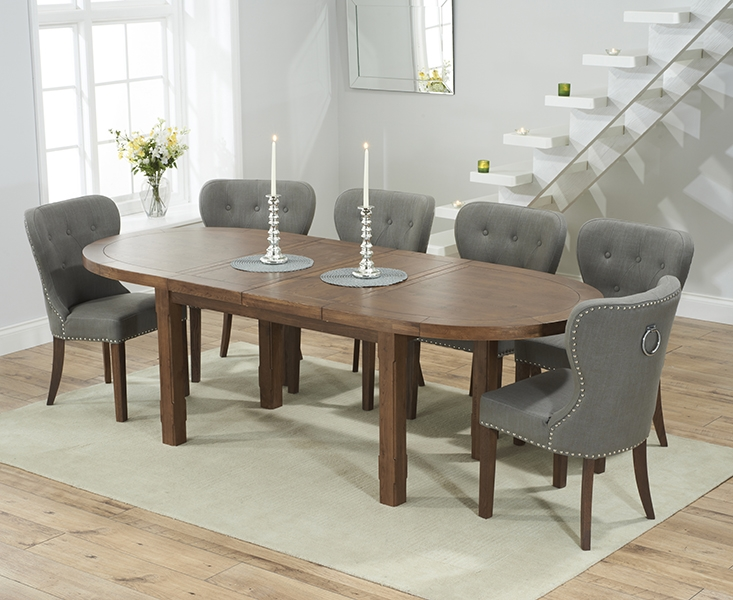 Mark Harris Cheyenne Solid Dark Oak Oval Extending Dining Set with 6 Kalim Grey Dining Chairs